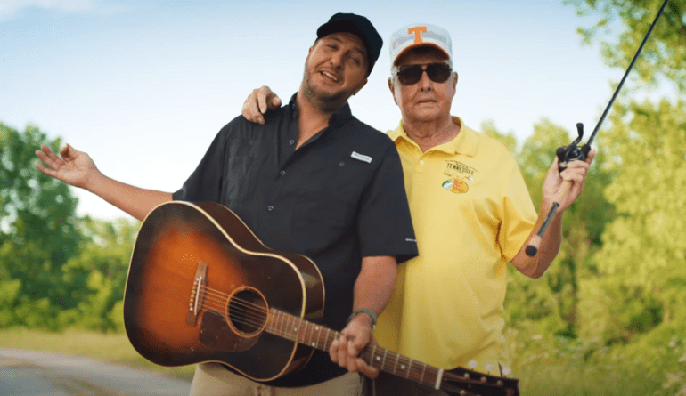 Bill Dance, Luke Bryan are posing for a picture