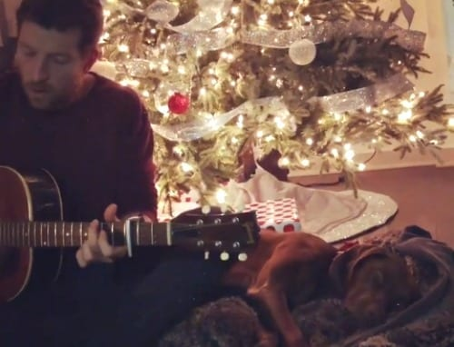 A man playing a guitar next to a christmas tree