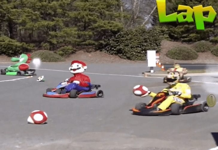 A group of people on go carts