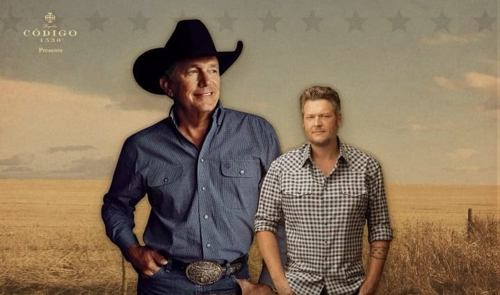 George Strait, Blake Shelton are posing for a picture