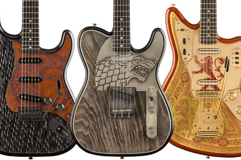 A group of guitars