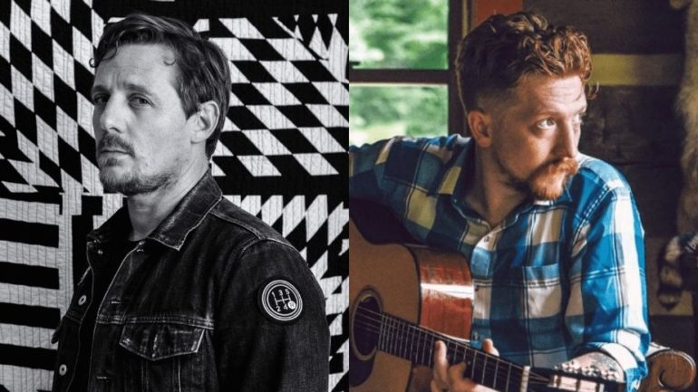 Sturgill Simpson holding a guitar next to another man with a black and white checkered background