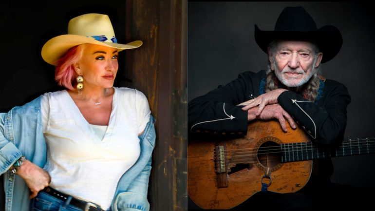 Willie Nelson and woman in cowboy hats