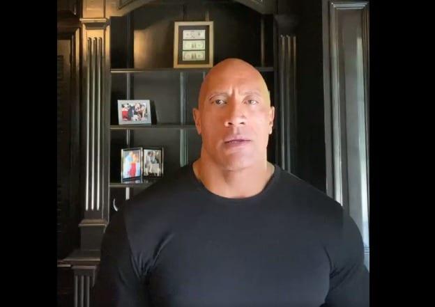 Dwayne Johnson in a black shirt