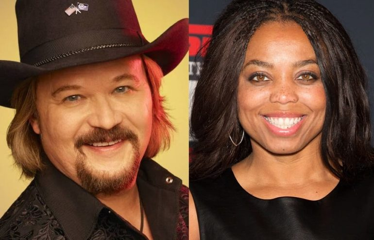 Travis Tritt, Jemele Hill are posing for a picture