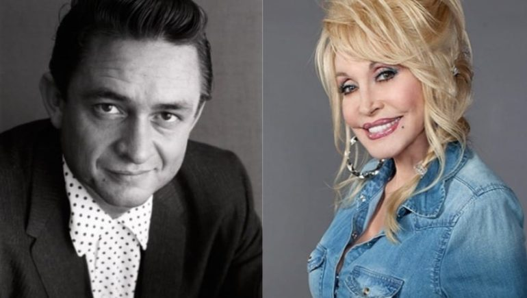 Johnny Cash, Dolly Parton are posing for a picture