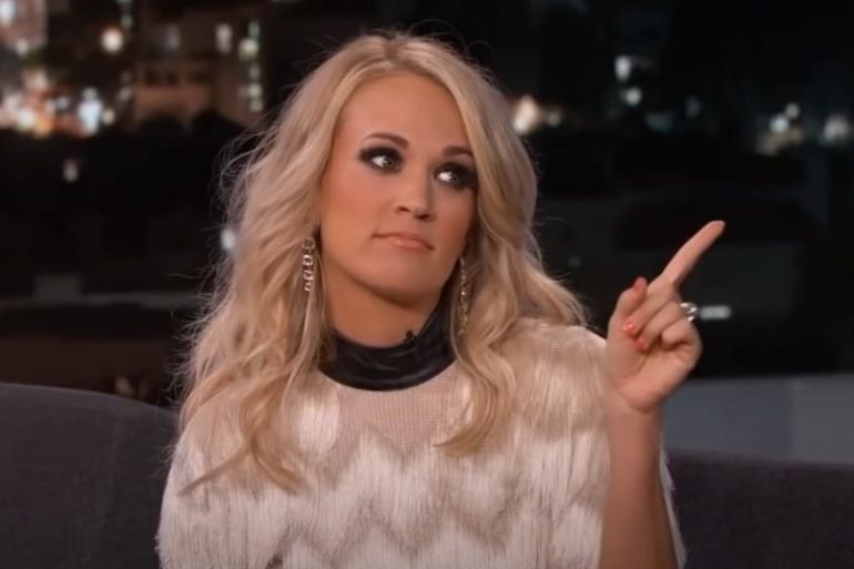 Carrie Underwood with long blonde hair