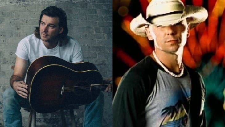 A man holding a guitar next to a man in a white hat