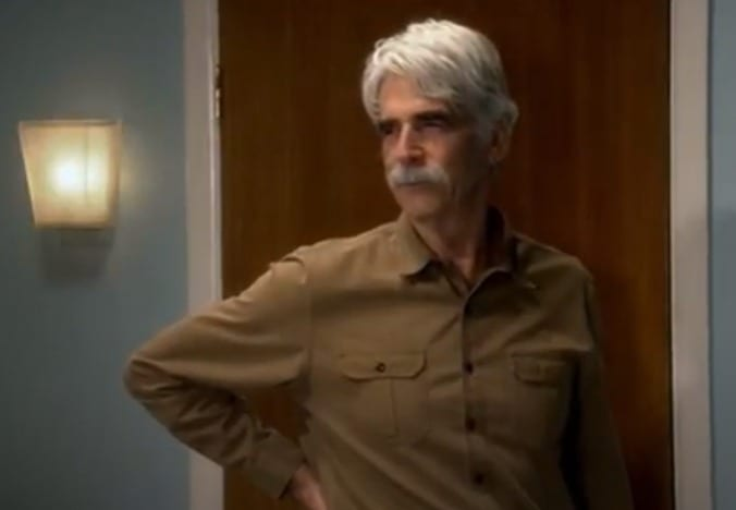 Sam Elliott in a brown jacket
