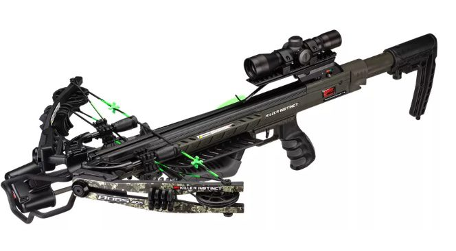 A black and green rifle