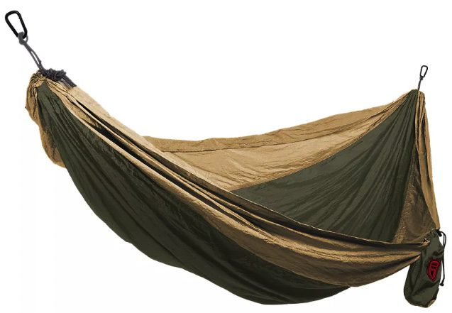 A green and brown tent