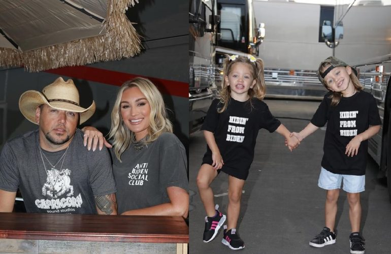 Jason Aldean and his wife and kids - country music