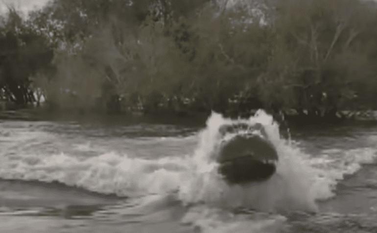 A river flowing through a rock