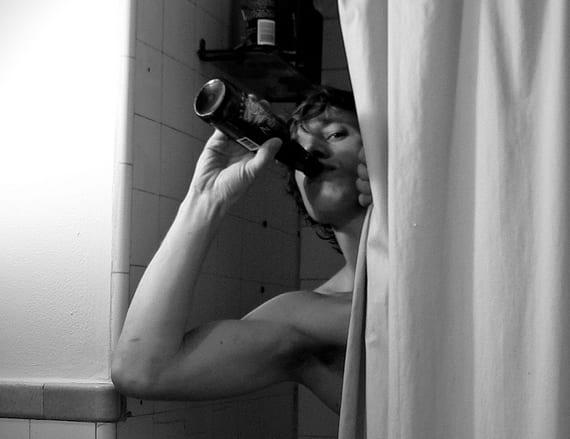A person in a bathtub