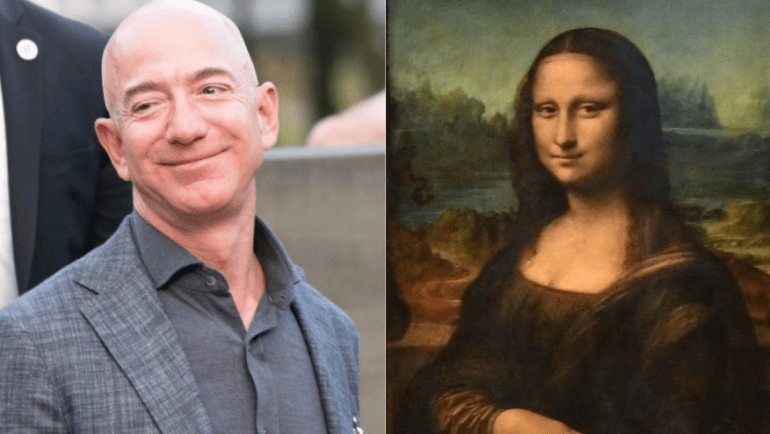 Jeff Bezos, Mona Lisa are posing for a picture