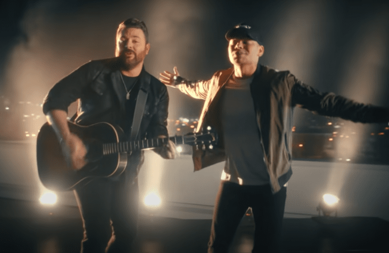 Chris Young and Kane Brown on a rooftop