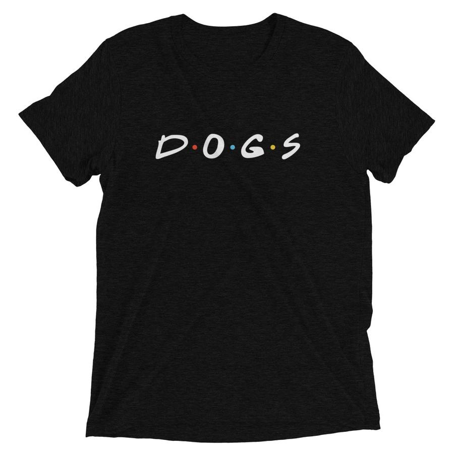 A black t-shirt with a logo on it